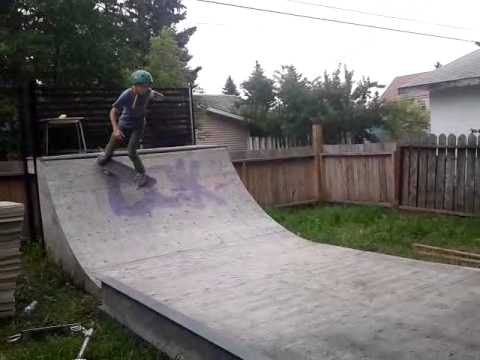 Skating in my home made halfpipe part 2
