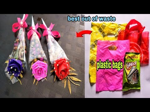 DIY Flower Bouquet from Waste Carry Bags-Best out of Waste