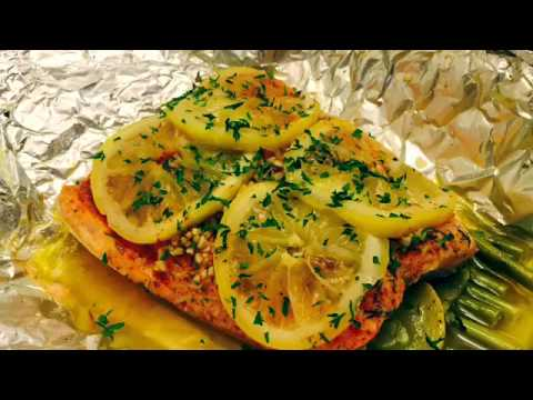 Garlic and lemon infused Cajun salmon steamed in foil pack