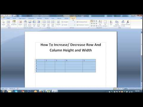 How To Increase or Decrease Row And Column Height and Width In MS Word 2007 #Lesson 35