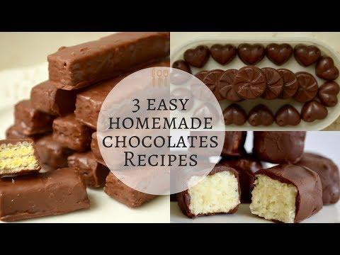 3 easy chocolate recipes |  Milk chocolate | Kit Kat chocolate | bounty bars | 3 Types of Chocolate