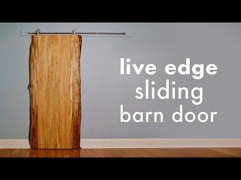 Ambrosia Maple Live Edge Sliding Barn Door // How To Build - Woodworking