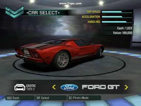NeedForSpeed Carbon All Cars in career mode garage