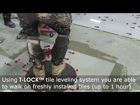 NEW WAY of tile installation - YOU WALK ON just installed tiles with T-Lock™ tile leveling system.