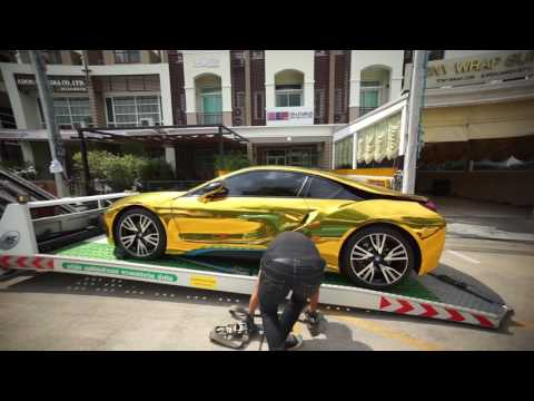 Satin Gold Chrome Of Bmw I8 By Toronto Wraptors For The Rich Kids
