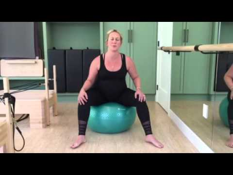Pregnancy hip circles-on the exercise ball