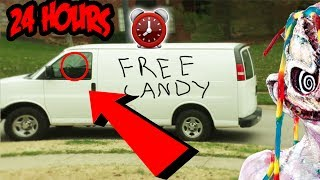 (FREE CANDY?!) OVERNIGHT CHALLENGE AT HAUNTED CLOWN CANDY FACTORY   CREEPY CLOWN SIGNS FOUND!