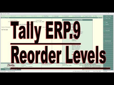 How to setup Reorder Level in Tally ERP9