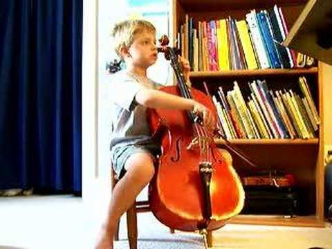 6 y/o Drew plays cello (J.B Breval)