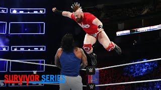 Sheamus launches an attack from the top rope against The Usos: Survivor Series 2017 (WWE Network)