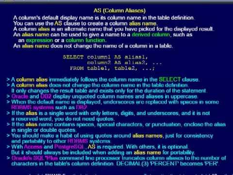 SQL 008 SELECT AS Column Alias How do I change column names?