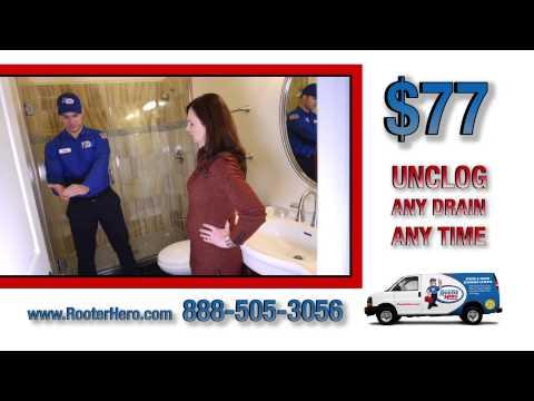 Rooter Hero Plumbing Unclogs Bathroom Drain -LICENSE # 973014
