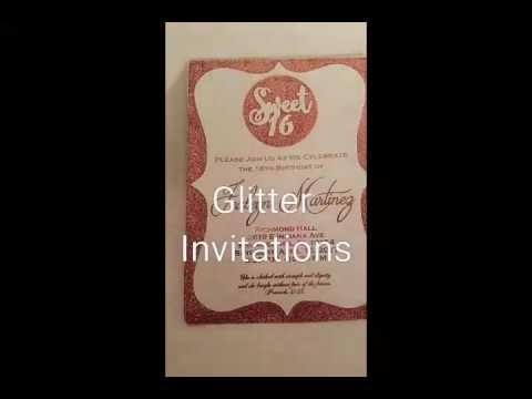 Glitter Invitations DIY for Sweet 16
