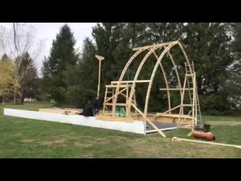 Bow roof boat shed with Gothic arch truss time lapse part 1: Sea Dreamer Project