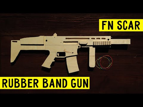 SUPER SIMPLE [ FN SCAR ] how to make  rubber band gun Wood Free template tutorial