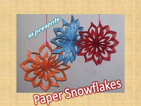 How to make paper Snowflake/christmas decorations / party decoration ideas /christmas tree ornaments