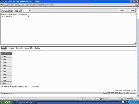SQL with Oracle 10g XE - Using the DISTINCT Function