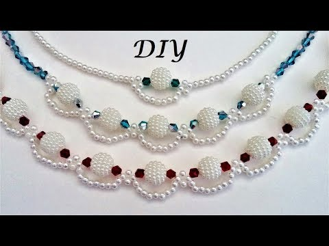 How to make pearl beaded necklace. Diy Necklace making tutorial.  3 beaded necklace patterns