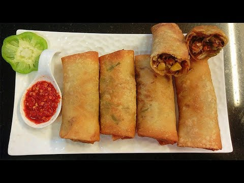 Chicken Spring Roll with Semolina Sheets Recipe in hindi By Farheen Khan |