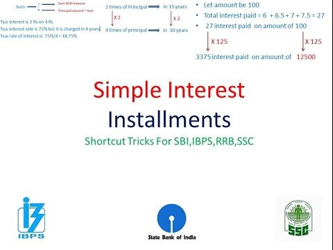 Simple InterestSI Installment Orally Shortcut   IBPS,SBI,PO,Clerk ,IPPB,SSC