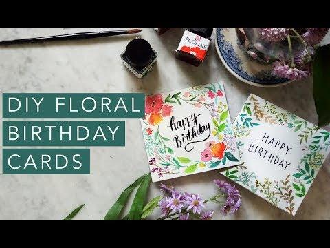 DIY Floral Watercolor Birthday Cards