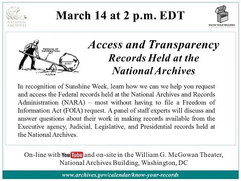 Access and Transparency -- Records held at the National Archives (2018 March 14)