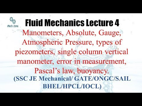Fluid Mechanics lecture 4 : Manometers, Absolute and gauge pressure for SSC, GATE and ESE