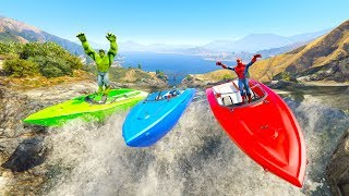 COLOR RIVER BOATS Race with Superheroes cartoon for kids and babies 3D animation!