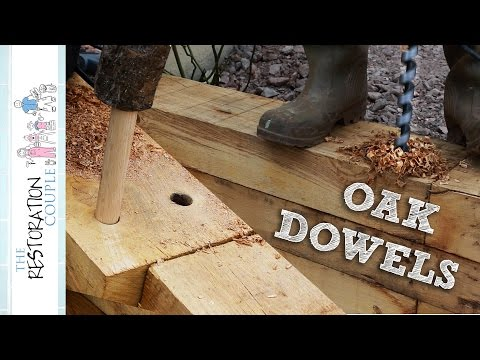 Joining Timber Sleepers with Oak Dowels | TRC Garden