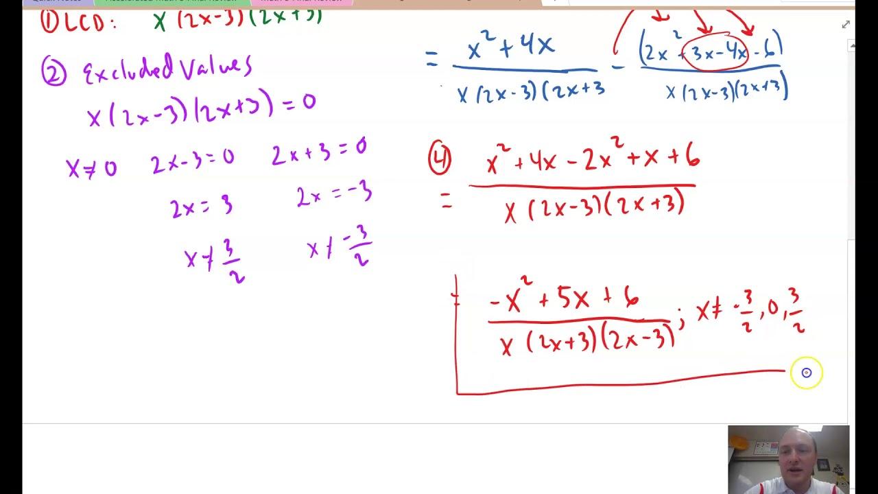 Accelerated Math 3 2-2C Adding/Subt. Rat. Exp. Ex 2 3