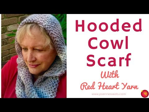 Hooded Cowl Scarf with Red Heart - How To Knit a Scarf with a Hood - Net Knitting