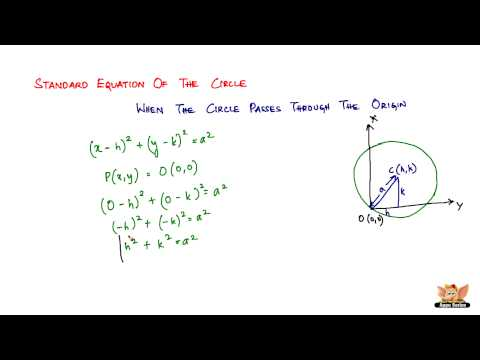 What is the standard equation of the circle when the circle passes through the origin?