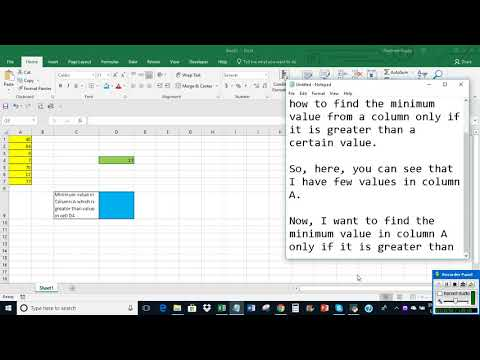 Excel: Find minimum value in a column which is greater than a certain value