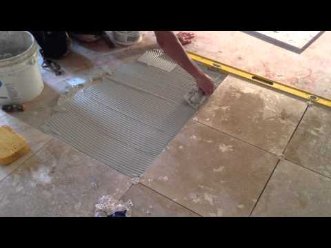HOW TO INSTALL TRAVERTINE FLOOR TILE  PRESENTED BY ASAP PLUMBING AND TILE INSTALLERS  904-346-1266