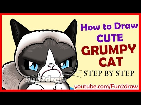 How to Draw a Grumpy Cat Cute + Easy