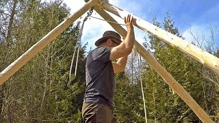 Make a Tripod Hoist and Move Logs While Building a Cabin Alone