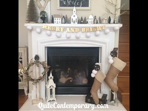 Easy DIY Snowball Pom Pom Garland for Christmas Mantel and Tree Decor