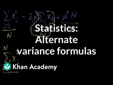 Statistics: Alternate variance formulas | Probability and Statistics | Khan Academy