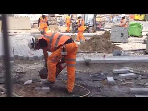 Saw Cutting a Concrete Paving Block