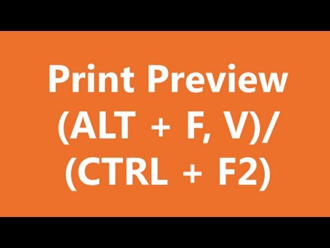 Excel Shortcuts - Print Preview