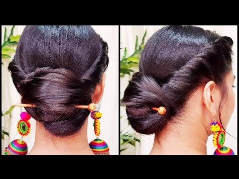 Quick Indian Bun Hairstyle for navratri// Party Hairstyles for medium/long hair// Indian hairstyles