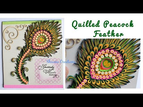 How to make Quilled Peacock Feather/ Quilling Bird Feather