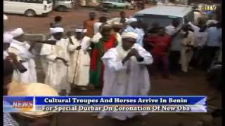 Cultural troupes and horses arrive in Benin for Special Durbar on coronation of Oba