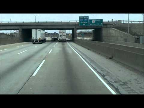 Semi Truck Driving Out of Chicago (Hi Speed)