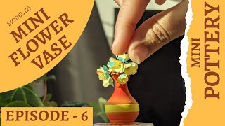 Throwing Mini Clay Flower Pot On Mini Pottery Wheel   Mini Pottery Tutorial   Tiny Flower Vase  