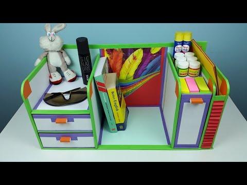 DIY desk organizer/ drawer organizer from cardboard.