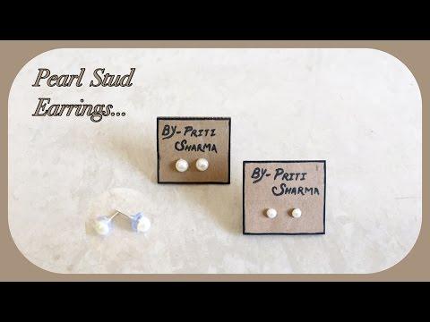 Pearl earrings stud / DIY / stud earrings | Priti Sharma