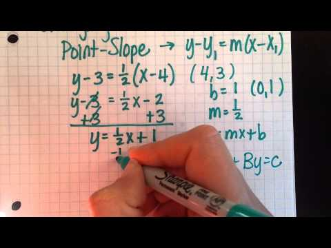 Changing Linear Forms - from point-slope form to slope-intercept & standard form