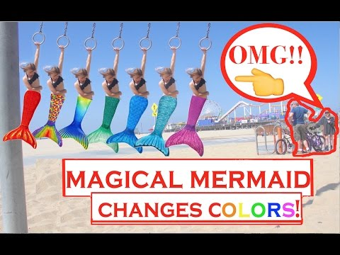 First Time EVER Magical Mermaid Caught Changing Colors on Beach Rings in 2017