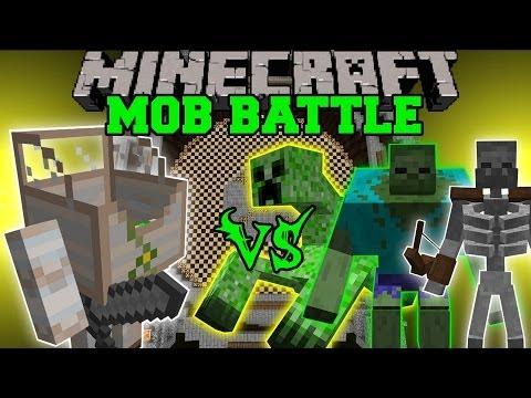 MECHA GOLEM VS MUTANT ZOMBIE, MUTANT CREEPER, & MUTANT SKELETON - Minecraft Mob Battles - Mods